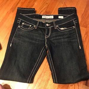 BKE Stella dark wash white stitch denim jeans